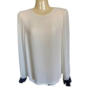 Blaque Label Ivory with Navy Trim Sheer Blouse